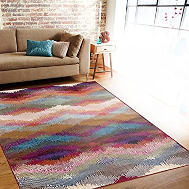 Rugshop Distressed Modern Geometric Soft Area Rug, 7'10  x 10'2 , Multicolor