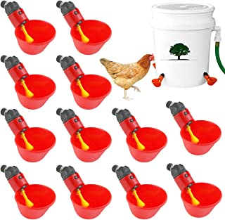 Poultry Drinking Water Cups for Poultry Hens 12 Pieces Chicken Drinking Cup Automatic Farm Bowl Plastic Drinking Poultry