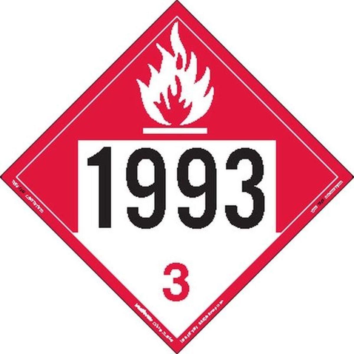 Labelmaster ZEZ91993 UN 1993 Placard Hazmat Liquid Discount mail order Max 63% OFF Combustible