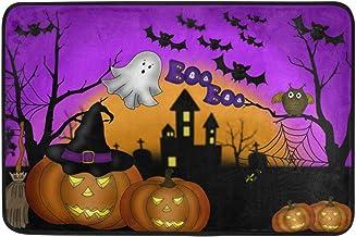 Wamika Happy Halloween Doormat Non Slip Washable Pumpkin Lanterns Ghost Bats Owl Purple Boo Indoor Outdoor Entrance Bathro...