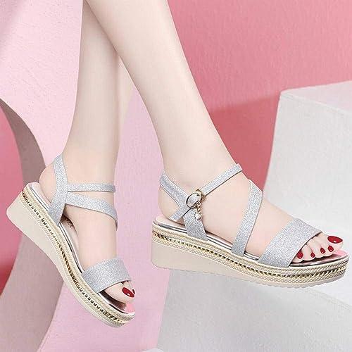 LTN Ltd - sandals Pente avec Chaussures à Semelles Compensées été Femme été Chaussures de Plage Romaines Printemps été, Argent, 35