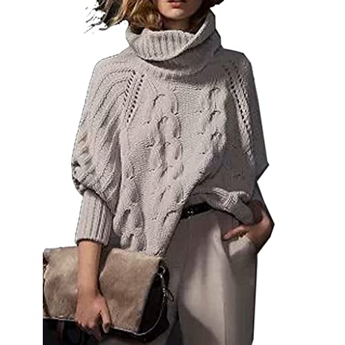 29834d7cc7 Choies Women s Acrylic Loose High Neck Chunky Cable Long Sleeve Sweater