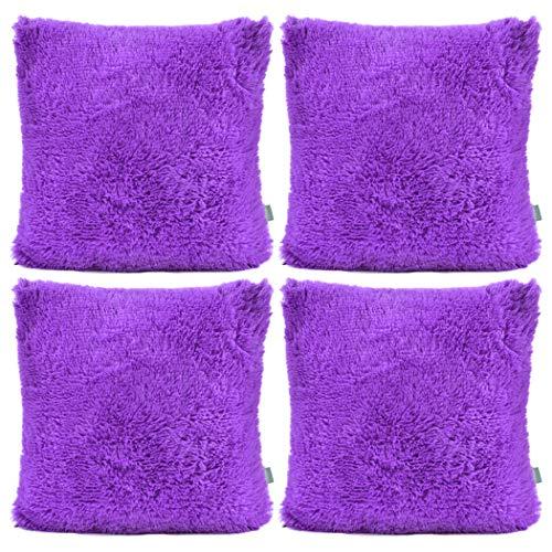 Sea Soft Lion Velvet Throw Pillow Case Cushion Cover Fashion Home Decorative Pillowcase (4-pack) (Purple)