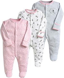 Pyjama pour Bébé Lot de 3 Combinaison en Coton Garçon Fille Grenouillères Manche Longues 6-9 Mois