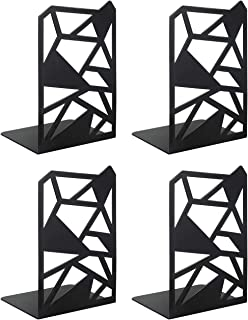 veecom Book Ends, Bookends, Geometric Metal Bookends for Shelves, Decorative Bookend Heavy Duty Book End for Office, Home, Black Book Stoppers for Kids