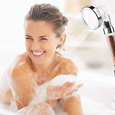 """Filter Shower Head - 3 Settings High Pressure Water Saving Showerheads with 59""""Hose and Multi Angle Adjustable Shower Bra"""