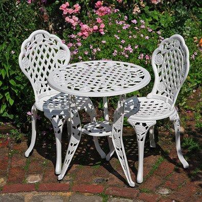 Lazy Susan™ Rose Round 2 Seater Bistro Set | Sand-cast Aluminium Garden Furniture Set | Weatherproof | Maintenance-free | Matching Bistro Chairs | Classic White Finish