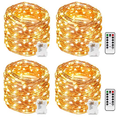 Kohree String Lights LED Copper Wire Fairy Christmas Light with Remote Control, 33FT 100LEDs, 4 Packs 8 Modes AA Battery Powered, Seasonal Decor Rope Lights for Holiday, Wedding