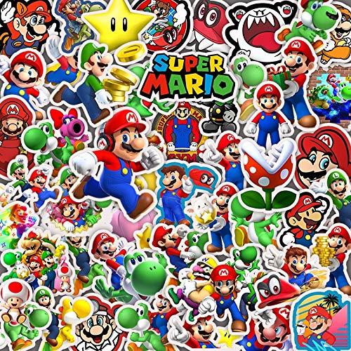 Super Mario Sticker 100 unids/lote Anime Juegos Super Mario Cartoon Niños Graffiti Juguetes Pegatinas DIY Equipaje Teléfono Guitarra Portátil PC PVC Impermeable 50 Piezas