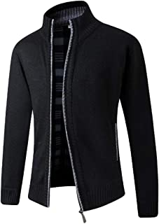 UUYUK Men's Casual Stand Collar Full Zip Open Front Thick Knitted Cardigan Sweater