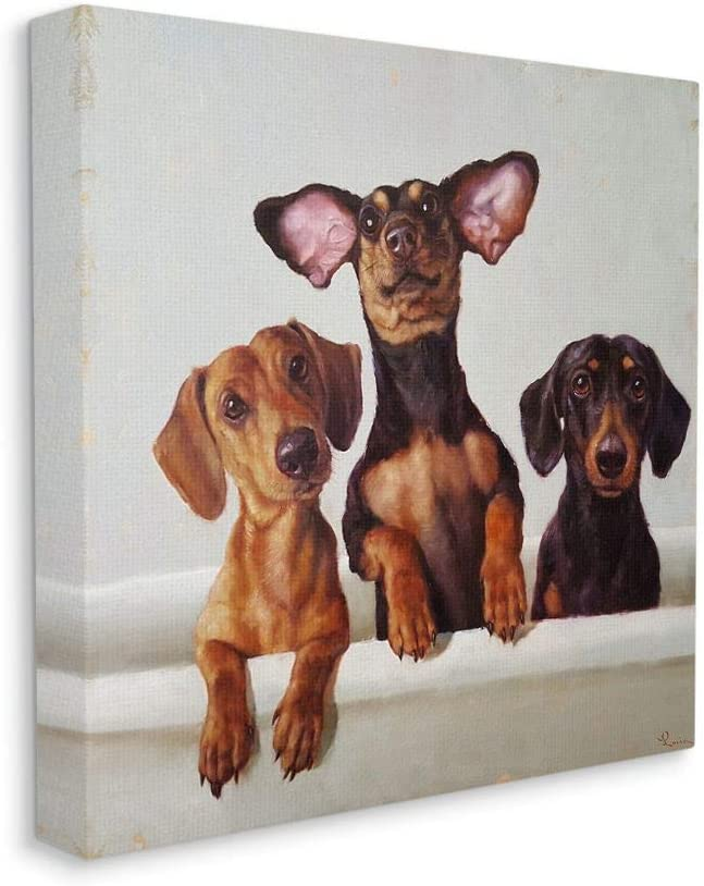 Stupell Industries Dachshunds Spring new work in The Bathroom Pet Tub Painti Dog Direct sale of manufacturer
