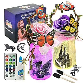 TYZEST Fairy Lantern Craft Kits Fairy Jar Night Light Kit with Remote- Night Light for Girls Bedrooms and Indoor Outdoor Garden DIY Deco Art Project Great Gift Idea