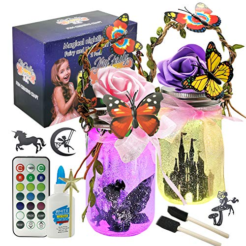 TYZEST Fairy Lantern Craft Kits, Fairy Jar Night Light Kit with Remote- Night Light, for Girls Bedrooms and Indoor Outdoor Garden DIY Deco Art Project Great Gift Idea