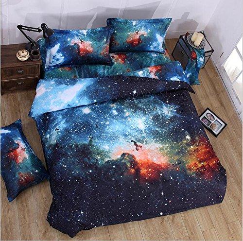 Kugkiukay - Set copripiumino, 3D, motivo cielo/galassia, con federa, per letto singolo e matrimoniale, in cotone/poliestere, A4, Singolo
