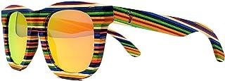 Wood Sunglasses - Multi-Colored Layered Rainbow Wooden Frame - Polarized Lenses - Handmade Exotic Retro Vintage Style