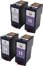 Karl Aiken 4x (2negro, 2Tricolor) Compatible Cartuchos de tinta para Lexmark 1415para Lexmark Z2300Z2320X 2650X2600X 2670impresora