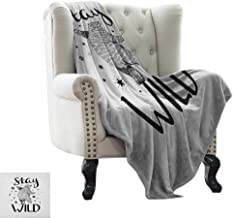 Outdoor Blanket Bear,Dancing Bear in Hand Drawn Style with Cute Little Stars Stay Wild Inspirational Quote, Black White Indoor/Outdoor, Comfortable for All Seasons 50