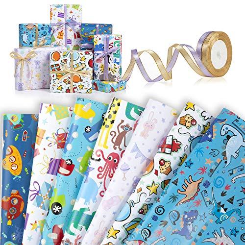 Wodasi Papel Para Envolver Regalos, 7 Hojas Papel de Regalo + 2 Rollo de Cinta, Niños Niñas Cumpleaños Papel Regalo, Papel de Regalo con Lindos Animales de Dibujos Animados(70 x 50cm)