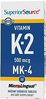 Superior Source Vitamin K2 MK-4 Sublingual - Menaquinone 4 500 mcg Instant Dissolve Tablets - Dissolvable K2 Vitamins - 60...