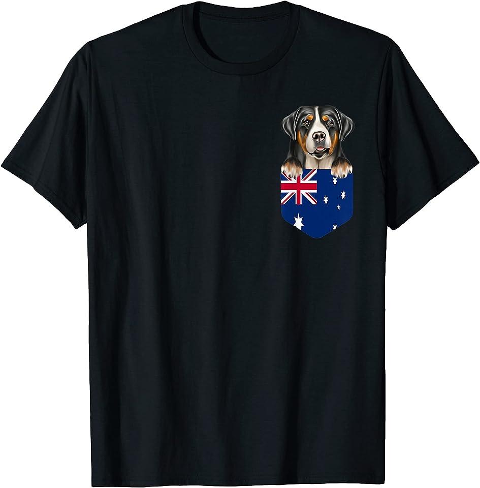 Australia Flag Greater Swiss Mountain Dog Dog In Pocket T-Shirt