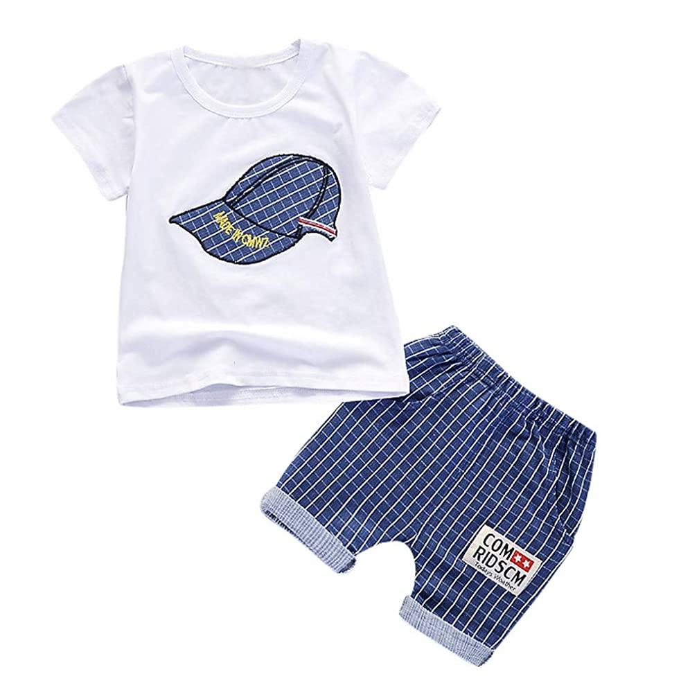 Sanyaleishen Baby Round Neck Outfits Girl Short Sleeve Plaid Cap Print t-Shirt Top + Plaid Shorts Set