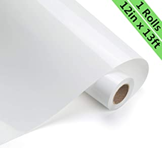 Eygoo HTV Heat Transfer Vinyl 12Inch x13Feet Rolls,Iron On Craft Vinyl for Cricut and Other Cutters,Easy to Cut & Weed,Permanent Adhesive HTV Vinyl for T-Shirts(White)