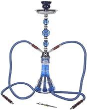 Shisha Hookah 2 Hoses Water Pipe Hookah Shisha Set 49cm High with Accessories Tongs Roll Coal Mouthpieces,Blue