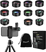Phone Camera Lens, 12 in 1 Cell Phone Lens Kit with Tripod for iPhone and Android, 120° Wide Angle + 198° Fisheye + 20X Macro + Zoom Telephoto + CPL + Kaleidoscope + Starburst + 4 Color Filter Lens