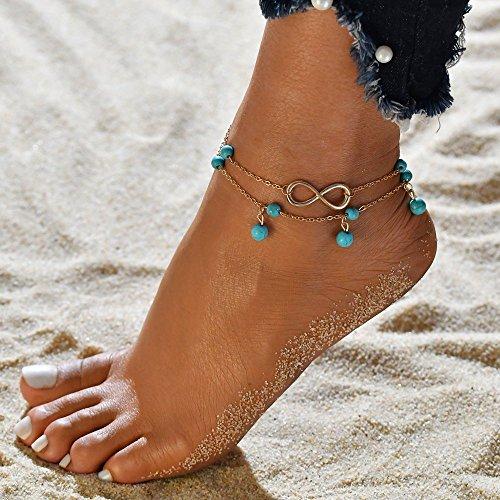 Dusenly Moda Boho Tobillera Pulsera 2 Capas Turquesa Tobillera Cadena para Sandalia de Playa Descalzo,  Dorado