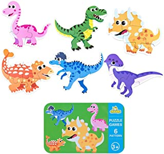 Ratus Wooden Puzzle 6Pcs Cartoon Animals, Dinosaurs, Wooden Puzzles for Cars, Rounded Edges to Protect Children with Iron Box Storage, Children's Thinking Skills Toys- Dinosaur#