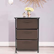Dresser, Modern with Drawer Small Cabinet Vertical Storage Tower Sturdy Steel Frame Wood Top Storage Cabinet Three-story Wrought Iron Bedside Table Minimalist Hotel Home lkoezi (453073CM, Brown)