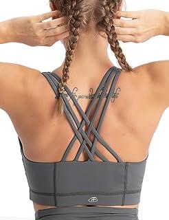 Hopgo Women's Zip Front Sports Bra Medium Impact Strappy Racer Back Workout Bra Padded Bra Top