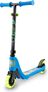 Flybar Aero Micro Kick Scooter for Kids, Pro Design with 2 Electric LED Wheels, Adjustable Handles, Blue