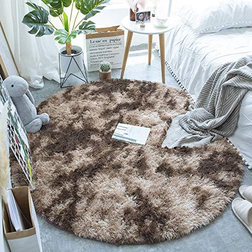 Alfombra Shaggy Redonda De Pelo Largo, para Salón Dormitorio Baño Sofá Silla Cojín,D,80cm