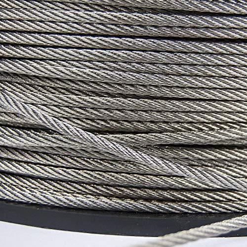 3mm - 50m Edelstahl Drahtseil 7x7 TOP WARE Stahlseil Seil Draht Stahl V4A INOX A4 rostfrei Geländer Edelstahlseil