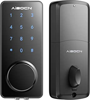 Aibocn Smart Lock, Keyless Entry Door Lock with Bluetooth, Keypad Deadbolt lock with Touchscreen, Smart Lock Front Door Works with APP Control, Voice, eKey and Code, Auto-Lock for Home Apartment Hotel