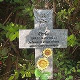 FANN 12,7 Pollici Pietra commemorativa per Animali Domestici Personalizzata Croce in Piedi con Girasole e Angelo, indicatore di Tomba di Cane Personalizzato, lapide di Gatto per Giardino