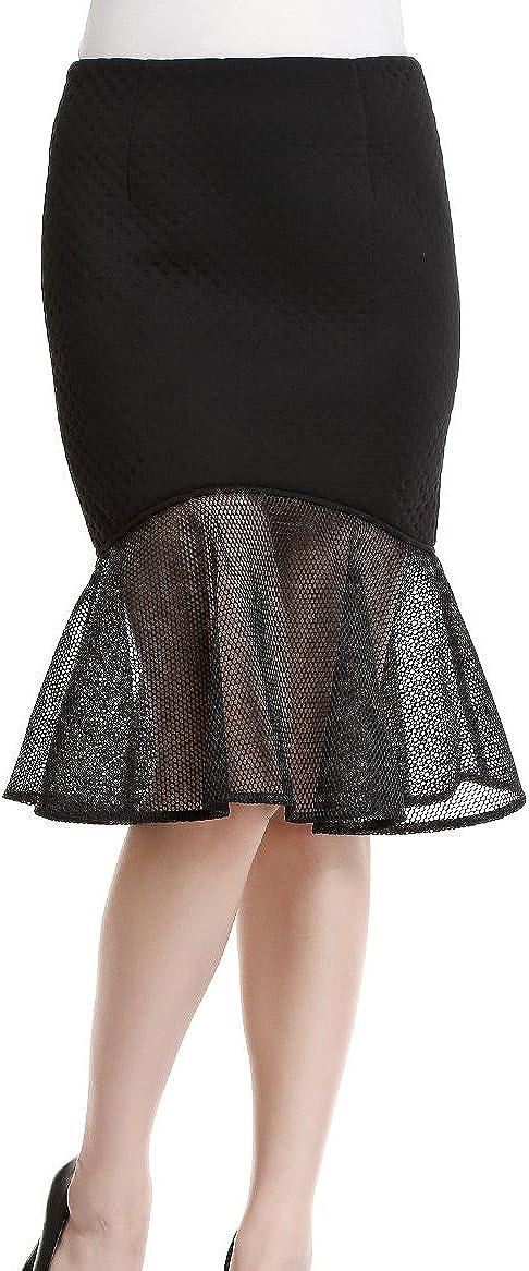 Women's Flouced Hip Skirt XX-Large Black