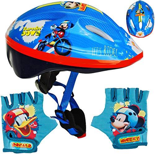 alles-meine.de GmbH Set: Kinderhelm / Fahrradhelm + Fahrradhandschuhe ___ Disney - Mickey Mouse - Gr. 52 - 56 - Circa 3 bis 15 Jahre - Größen verstellbar / mitwachsend - TÜV gepr..