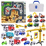 heruo Construction Vehicles Toys with Play Mat and Car Storage Box,...