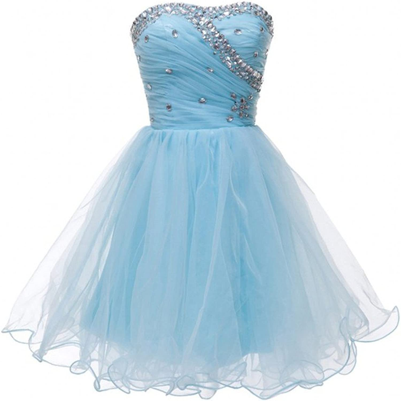 Sweet Bridal Women's Strapless Tulle Short Prom Homecoming Dress