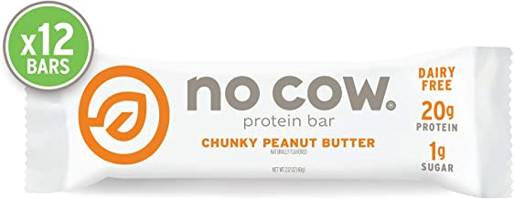 No Cow Protein bar, Chunky Peanut Butter, 21g Plant Based Protein, Keto Friendly, Low Sugar, Dairy Free, Gluten Free, Vegan, High Fiber, Non-GMO, 12Count