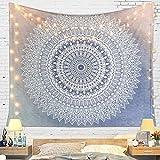 LOMOHOO Tapisseries Mandala Gris Murales Art Murale Chambre Decorations Psychédélique Mandala Bohémienne Décoration Salon Chambre (Gray Blue, M/130cmx150cm)