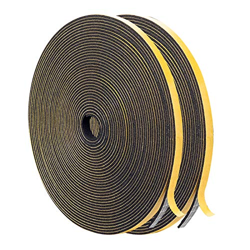 Foam Insulating Tape- 2 Rolls, 1/4 Inch Wide X 1/16 Inch Thick Total 26 Feet Long,High Density Foam Tape Seal for Doors and Windows Insulation(13ft x 2 Rolls)