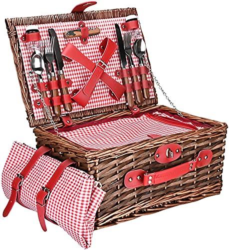 JIARY Wicker Picknickkorb Korb mit Handgriff Handgefertigte gewebte Weide Camping Lebensmittel Vorratsbehälter Geschenkkorb mit doppelten Deckeln