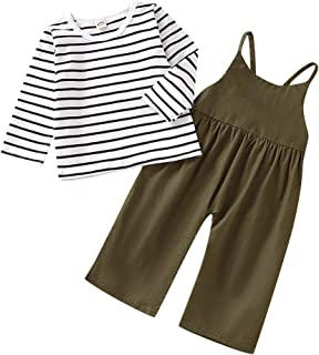AMOUR TIME Toddler Baby Girl Stripe Long Sleeve Top + Strap Overalls Loose Jumpsuit Fall Outfits Clothes
