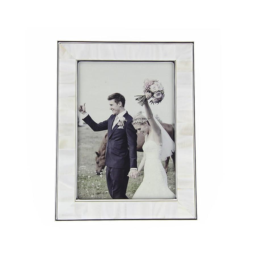 ビヨンワーディアンケース簡単なFulemay シェルフォトフレーム L判「貝の芸術」シリーズ 結婚式写真立て L判 ホワイト