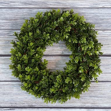 Boxwood Wreath, Artificial Wreath for the Front Door by Pure Garden, Home Décor, UV Resistant - 12 Inches