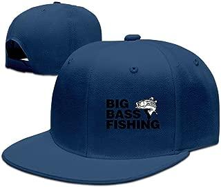 Big Bass Fishing Funny Fishing Adjustable Caps Flat Brim Baseball Caps