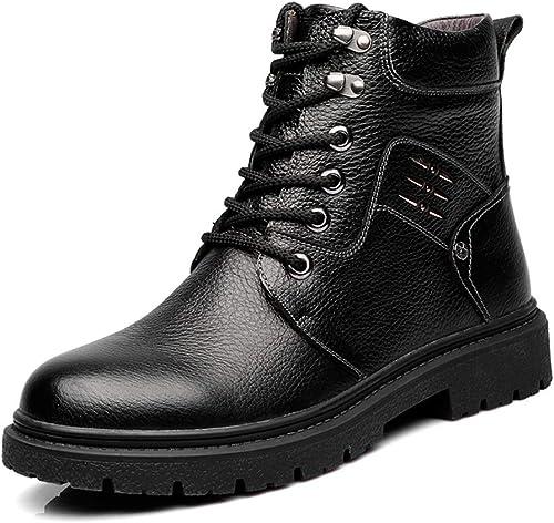 Easy Go Shopping botas de Tobillo para hombres Ocio Clásico Comodidad Alta Superior Suela Exterior de Goma Martin botas (Color   Warm negro, Tamaño   42 EU)
